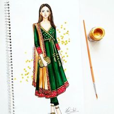 Traditional angrakha style with brocade and golden embellishments - why not!!  #fashionillustration #indianwedding #anarkali #ethnic