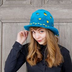 Unique felted hat, designer hat, winter fashion, blue hat with fancy yellow dots, spring fashion, Avant Garde hat, OOAK