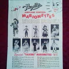 This 1954 product brochure from Hazelle's Marionettes arrived this week. The front looks just like the 1953 brochure. A couple of changes were made, but it is essentially the same.