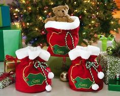 Too cute! ----------Santa Claus Christmas Gift Bag Sack Stockings Set of 3 Plush Holiday Decor