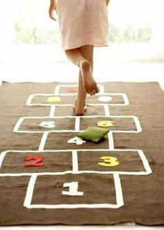 Handmade hopscotch mat for indoor play. I remember those days playing hopscotch with friends Diy For Kids, Cool Kids, Big Kids, Little Boys, Kids Crafts, Hopscotch Rug, Wedding Reception Games, Wedding Games For Kids, Wedding Ideas