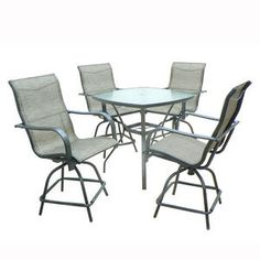 Balcony height table and four swivel chairs