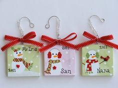 canvas christmas ornaments | 3x3 Canvas Christmas Ornament - Personalized | Holiday Ideas