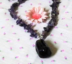 Amethyst Chip Bead Necklace with Pendant by letsreminisce on Etsy