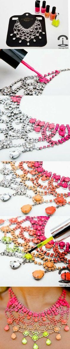 crafts DIY Neon Chain Clutch 2014