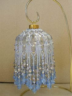 Beaded Fancy Fringed Ornament Cover - Beading Instructions - Ice Blue pattern $4.00