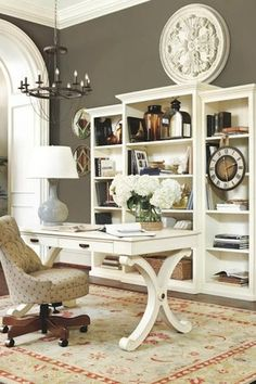 Traditional Home Office with High ceiling, Floral wall medallion - pottery barn, Arch doorway, Paint, Hardwood floors