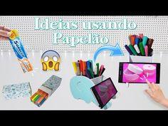 DIYs Incríveis USANDO PAPELÃO| Porta Celular, Estojo e Porta Canetas - YouTube