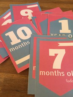 Printable Baby Milestone Cards - Instant Download, Baby's First Year Photo Props - Pink & Blue