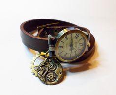 Montre Steampunk cuir marron cadran vintage et mécanismes de montre : Montre par cristalizade
