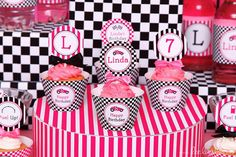 Pink Race Car Birthday Party | CatchMyParty.com