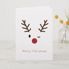 Cute Winking Rudolf Reindeer Christmas Holiday Card