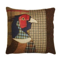tweed mixed fabric animal applique cushion pheasant by Castletweed                                                                                                                                                     More