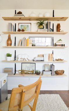 Alicia's Office Reveal reverse bracket and plywood shelves. Alicia's Office Reveal – Vintage Revivals Bookshelf Styling, Diy Bookshelf Wall, Wall Shelving Living Room, Long Wall Shelves, Office Wall Shelves, Ikea Wall Shelves, Bedroom Shelving, Hanging Bookshelves, Modern Bookshelf
