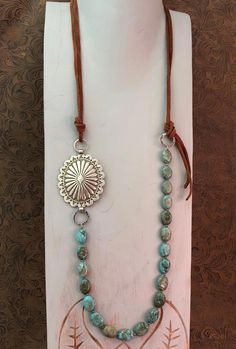 Silver Concho Necklace, Concho Turquoise Necklace, Cowgirl Leather Necklace, Western Concho Leather Jewelry, Upcycled Jewelry - List of the best jewelry Leather Necklace, Leather Jewelry, Boho Jewelry, Jewelery, Handmade Jewelry, Jewelry Necklaces, Gold Bracelets, Craft Jewelry, Fashion Jewelry