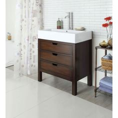 Tillie Sink Cabinet in Cherry | 90000-ACME | ACME Furniture - Truth In Craft