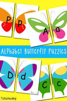 Free Alphabet Butterfly Puzzles.