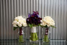 purple and champagne wedding centerpieces