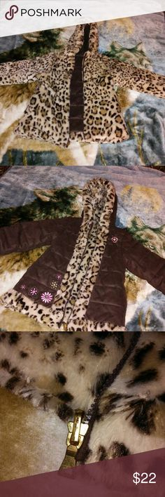 Girl's reversible winter coat! Super cute reversible girl's winter coat. One side is fuzzy leopard print, the other is a soft brown suede-like material, with pink embroidered flowers. Made by Pistachio, size 6. This coat is in near perfect condition! My daughter grew too fast to wear it for long. Pistachio Jackets & Coats
