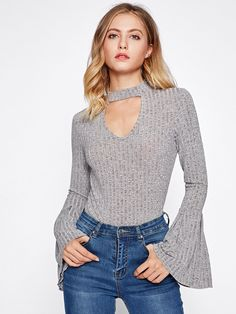 Shop Choker Neck Bell Sleeve Heather Knit Top online. SheIn offers Choker Neck Bell Sleeve Heather Knit Top & more to fit your fashionable needs.