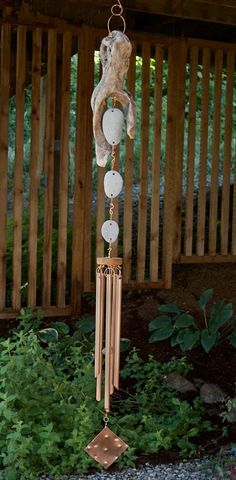 Wind Chime Driftwood Beach Stones Large Copper Chimes