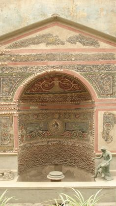 Door of a villa in ancient Pompeii.... historical summertime exploration - colours/patterns/textures
