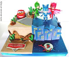 Cars and PJmasks - cake by Torte decorate di Stefy by Stefania Sanna Mcqueen Cake, Car Cakes, Sheet Cakes, Pj Mask, Dream Cake, Daily Inspiration, Boy Birthday, Cake Decorating, Cars