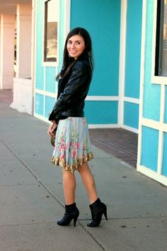 Blogger Adriana spotted wearing Charlotte Russe booties in her latest #ootd! See more on her blog - Leopard Martini: Edgy Meets Girly
