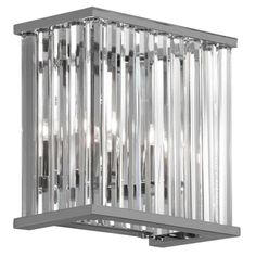 Radionic Hi Tech Home Crystal WL HC-8228PCH RHT Wall Sconce - The Radionic Hi Tech Home Crystal WL HC-8228PCH RHT Wall Sconce is accented with long, clear crystals along the sides for a beautiful, elegant...