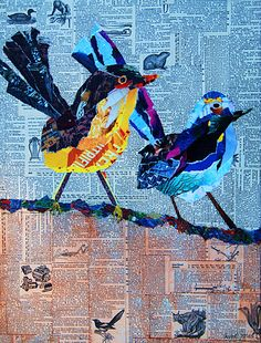 torn paper collages