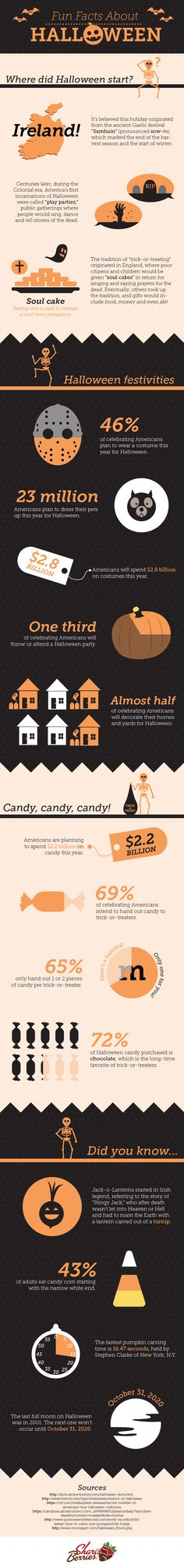 """Fun Facts About Halloween - How did trick-or-treating start? Why is it called a Jack-o-Lantern""""? Halloween is full of mystery... So we did a little poking around to answer these questions and brush up on our Halloween knowledge and trivia. And of course, impress our friends at the next Halloween party."""