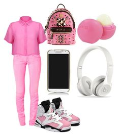 """""""all pink status"""" by jahyrahbaby ❤ liked on Polyvore featuring AMY GEE, MCM, Eos, Tory Burch and Beats by Dr. Dre"""
