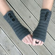 Crochet Arm Warmers Button up Fingerless Gloves by captainapricot, $18.00