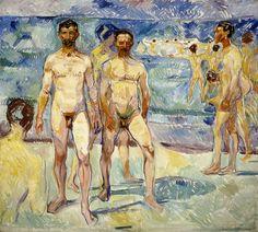 Edvard Munch: Kylpeviä miehiä, 1907-1908. Kansallisgalleria / Ateneumin taidemuseo, kok. Antell. Kuva: Kansallisgalleria / Jaakko Holm