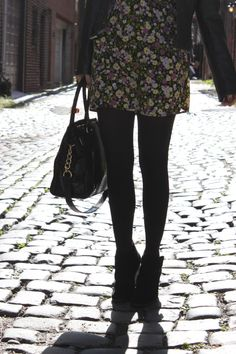 black tights with floral dresses:  I can't wait until fall so I can slip on my black tights again