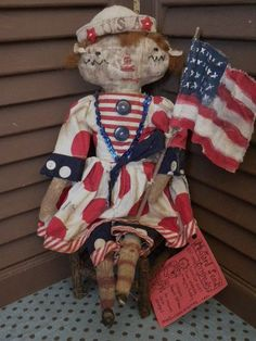 Primitive Americana July 4th Red White Blue USA Raggedy Ann Doll Flag MSO Pfatt | eBay