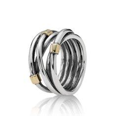 Pandora ring, goud met zilver, model 190383. € 129.- http://uw-juwelier.nl/pandora-ringen/4835-pandora-ring-190383.html