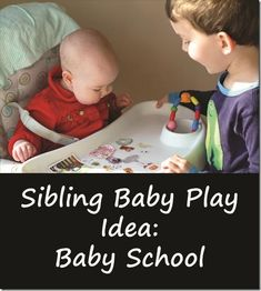 One of my favorite ways to get older children interacting positively with the family baby! Baby School is a baby play game my kids made up that has turned out to be a great way to promote healthy sibling-baby interactions. via @mamasmiles