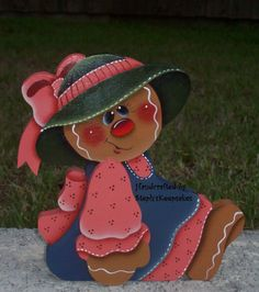 Hand Painted Gingerbread Girl Shelf Sitter por stephskeepsakes, $14.95