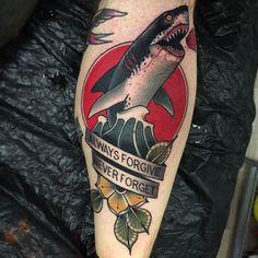 Always Forgive. Never Forget. Tattoo by @cedric.weber.tattoo at Greyhound Tattoo Parlour in Hamburg Germany #cedricwebertattoo #cedricweber #greyhoundtattooparlour #hamburg #germany #shark #sharktattoo #alwaysforgive #neverforget #alwaysforgiveneverforget #tattoo #tattoos #tattoosnob