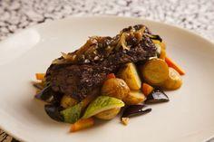 Fraldinha ao poivre com batatas e legumes sautée