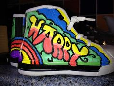Hand painted boots for my grandson harry