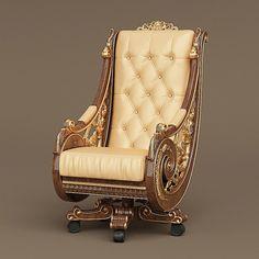 bisini armchair 3D model Furniture Sofa Set, Royal Furniture, Unique Furniture, Furniture Design, Living Room Designs India, Gothic Chair, Royal Room, King Chair, Convertible Furniture