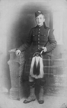Pte. (Piper) 28930 James Clelland Richardson VC. 16th Battalion Canadian Inf. (Manitoba Rgt) (25.11.1895|9.10.1916) Reported MIA 9.10.1916 at Regina Trench, his remains were discovered in 1920. Buried Adanac Military Cemetery, Miraumont. Grave Ref: III. F.36. VC awarded 9.10.1916. Citation London Gazette 18.10.1918.