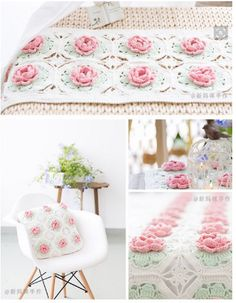 Floral motifs for blankets and pillows