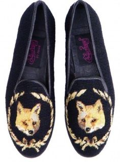 Fox on Black Needlpoint Loafers from By Paige $195 *please keep the credit*