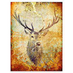 Palm Valley - Deer Hunter, Burnt Orange, Canvas Ar