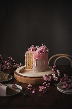 Lemon Vertical Roll Cake + Rhubarb Rose Frosting