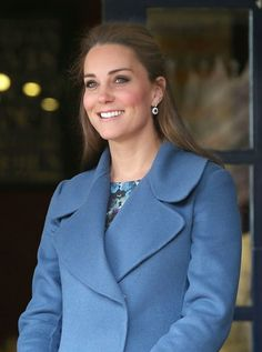 Kate looked every inch the glamorous mother-to-be in her Wedgewood blue MaxMara coat