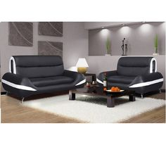 Display the comfort zone of your house by placing this Carmena 3 and 2 PU #sofaset. The #sofa set comes in combination of black color with white lining. It has comfortable and deep #leather seating assisted with a strong metallic base.